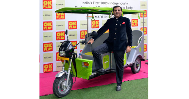 OK Play launches ICAT approved 'E-RAAJA' - Green E-Rickshaw